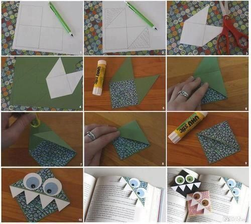"""My preschool class is making bookmarks to donate to our library as our community service project.  The children loved these.  We had the basic shape made for them but the children loved decorating """"the monsters""""."""