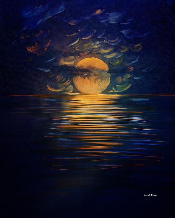 December Full Moon Peace Over the Ocean by Angela A. Stanton: A painting of my imagination inspired by the December full moon photos I took as the moon was hiding behind clouds. December Full Moon Peace over The Ocean is exactly how I envision it so I painted the waters very calm. The painting is full of textures; click on any point to see the textures enlarged.