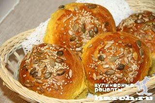 Пуховые булочки с тыквой, xleb batony bulochki muchnye blyuda