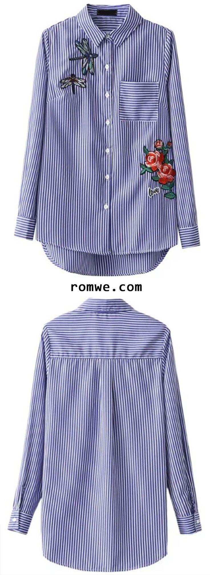 Blue Vertical Striped Embroidery Dip Hem Blouse