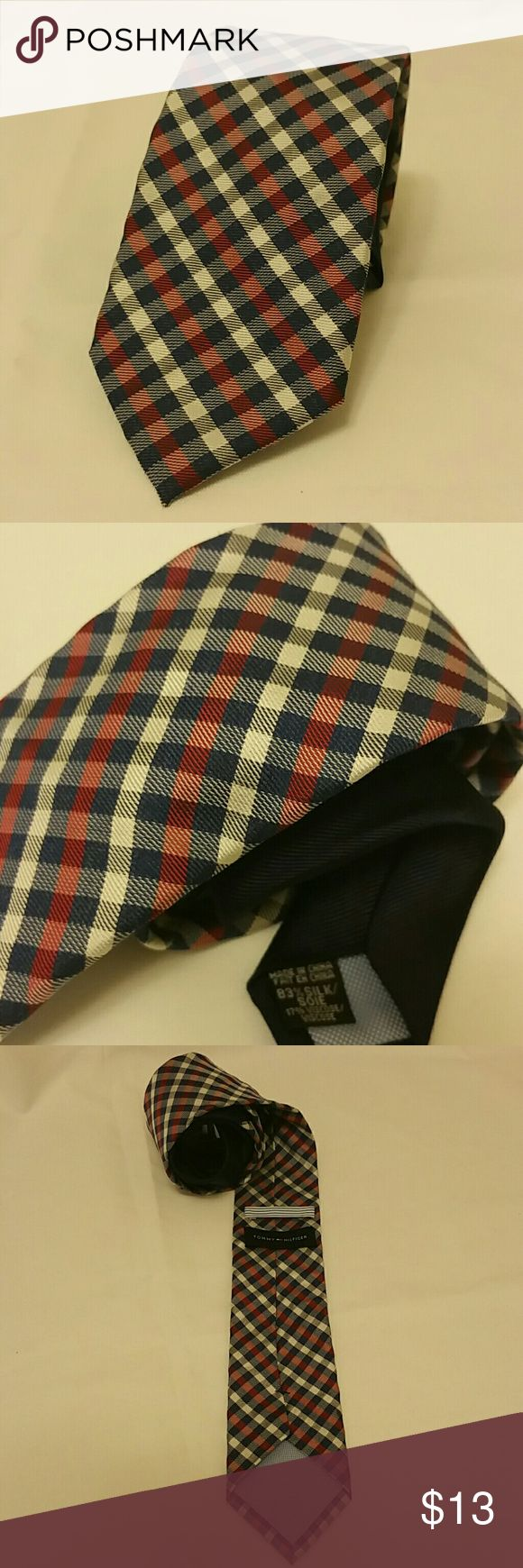Tommy Hilfiger Tailored Collection Classic Tie -Classic width plaid tie -Blue/Red/White -83% Silk, 17% Viscose Tommy Hilfiger Accessories Ties