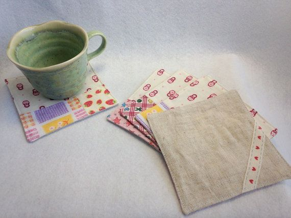 """Set of 5 Coasters Patchwork Sewing Hand / Pink - 4.3"""" * 4.3""""(11*11cm)  by YuminaCafe, ¥1500"""