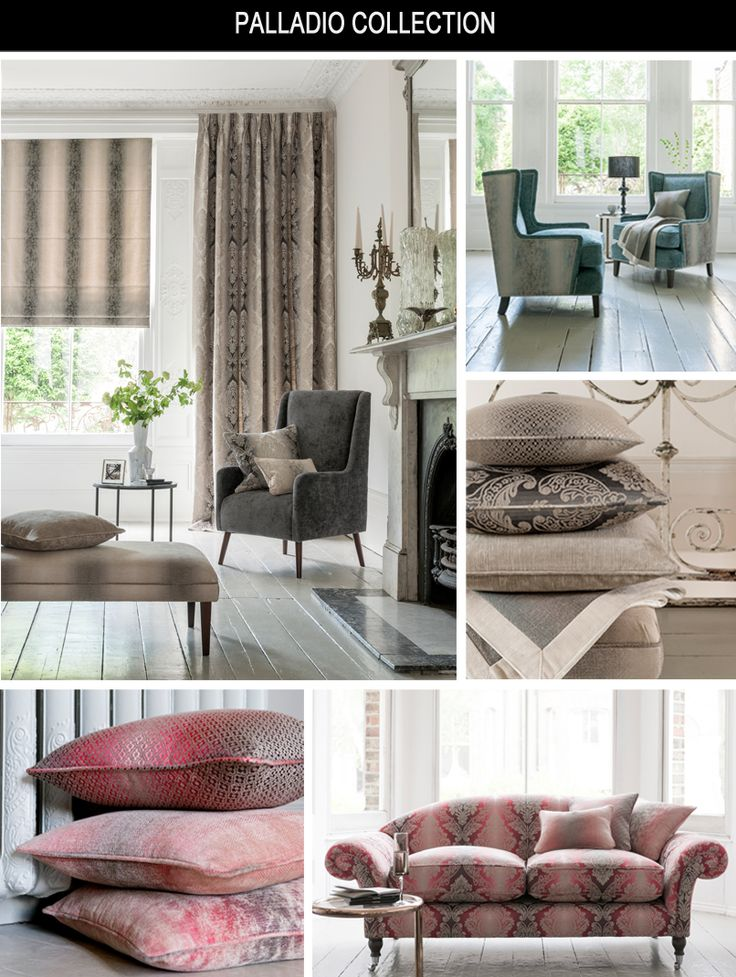 Clarke & Clarke Palladio Collection  Detailed, ornate weave structures combine with ombre grounds in a classical Italian style. Four coordinating patterns in a variely of scales are complimented by a soft, slub weave chenille and are available in colours ranging from classic neutrals through to fashionable shades of shades of aqua, orchid and olive green.