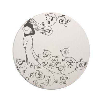 #Wedding Gown Bride Silhouette Sandstone Coaster - #WeddingCoasters #Wedding #Coasters Wedding Coasters
