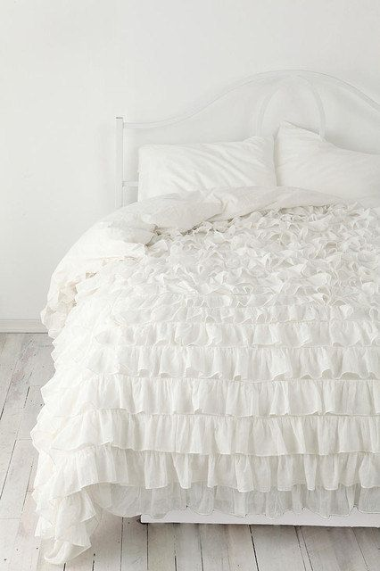 White Ruffle Bedspread Set 3pc Egyptian Cotton By
