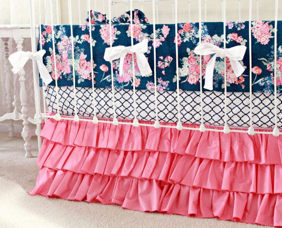 Hot Pink and Navy Baby Girl Bedding custom crib by LottieDaBaby