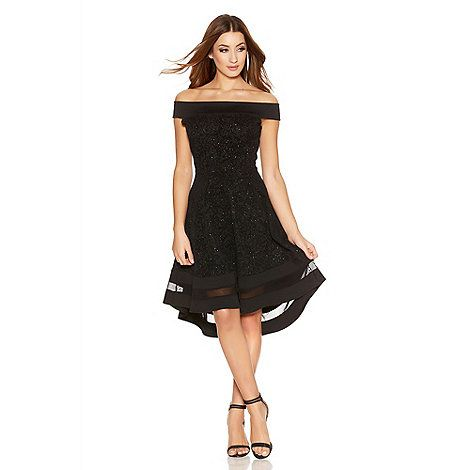 Quiz Black Glitter Bardot Dip Hem Mesh Dress | Debenhams