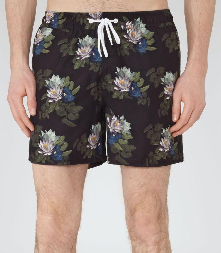 Mens Black Dark Bloom Swim Shorts - Reiss Burleigh