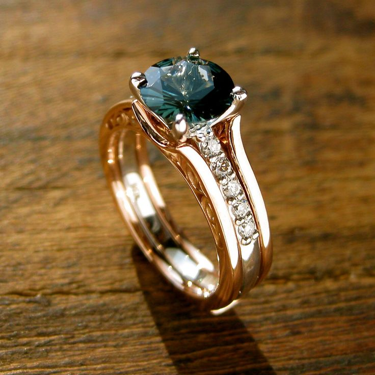 Teal Blue Sapphire Engagement Ring With Diamonds In 14k