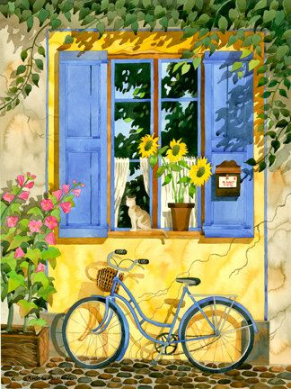 Provence Home With Bike and Shutters by RobinWetheAltman on Etsy, $49.00