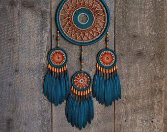 Dream catcher / Turquoise and orange dream catcher / Gypsy dreamcatcher / Dream catcher gift