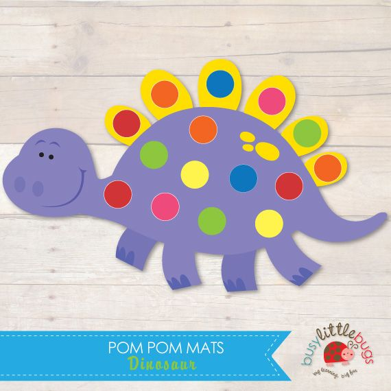 Dinosaur Pom Pom Mats great for fine motor and colour matching