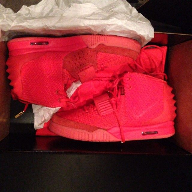 """Nike Air Yeezy 2 """"Red Octobers"""" Kim Kardashian from """"Yeezus"""" himself. Probably more expensive than the wedding ring on Ebay or any other stores. Limited release. (were only available through the raffle)"""