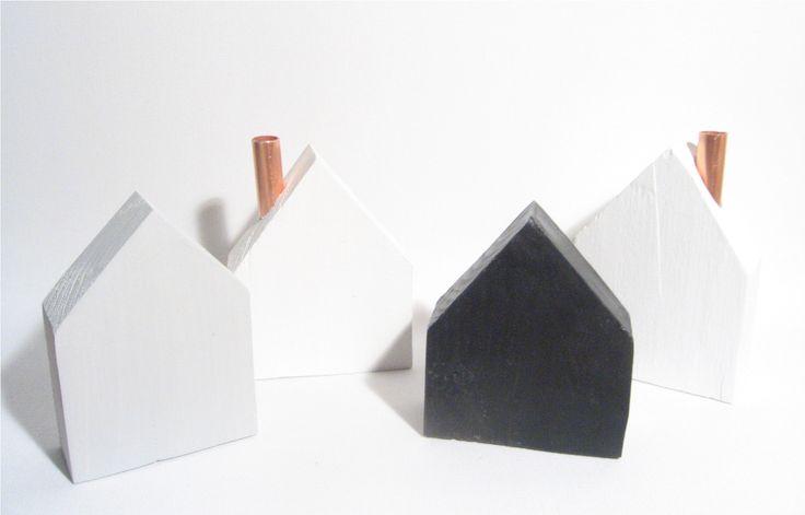 Dřevěné domečky / černá je dobrá, šedá taky, Christmas Decoration, little wooden houses, Weihnachten