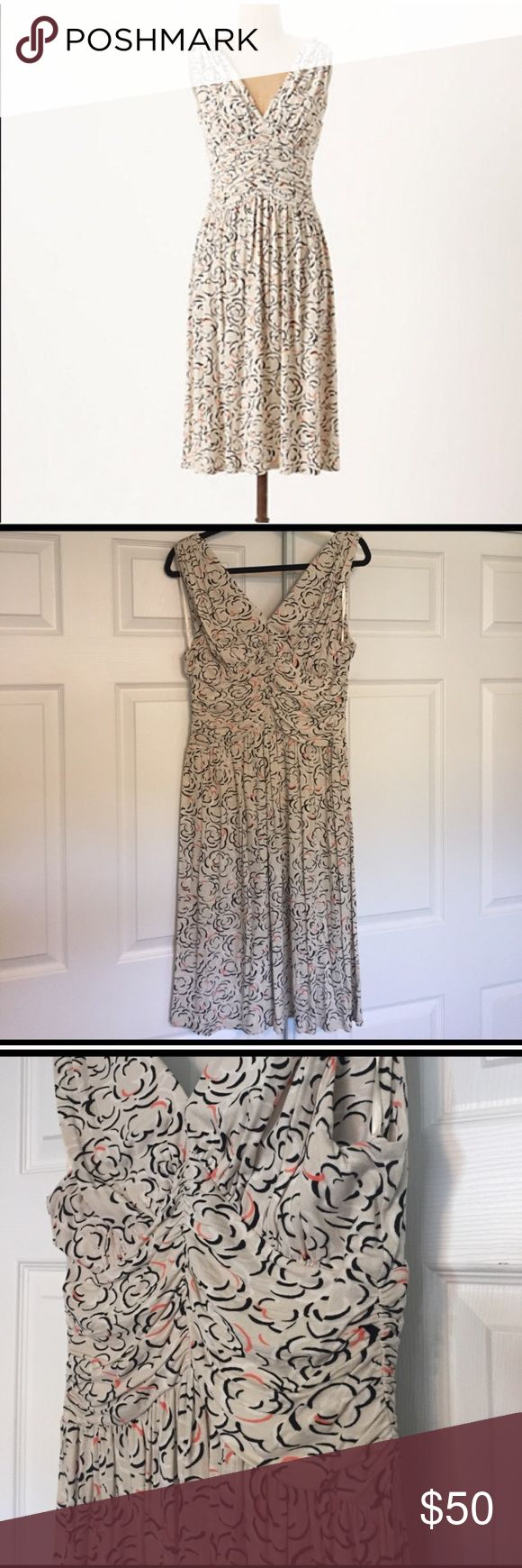 """Anthropologie Cloud Rose Dress Great used condition Cloud Rose dress by Deletta. 43"""" long, 16"""" across waist unstretched. Deep V neck with rouching and a-line shape for amazingly flattering fit. Can fit 14/16 as there's lots of stretch. Minimal piling around arms. Excellent for work to date night or weekend events. Anthropologie Dresses"""