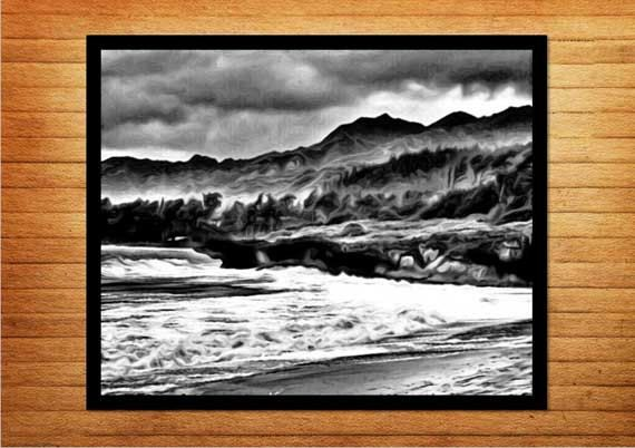 Black and white art, printable art, Stormy Weather - Made by Gia $10.00  #blackandwhite #blackandwhitephotography #blackandwhiteprints #oceanphotography #beachphotography #moodyart #digitalprints