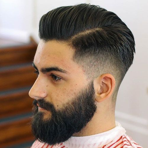 High Taper Fade + Brushed Back Hair