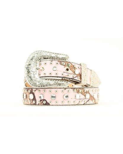Women's Pink Mossy Oak Nail Head Belt - Country Outfitter