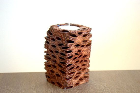 Banksia tea light candle holder, australian native, tea light holder, handmade…