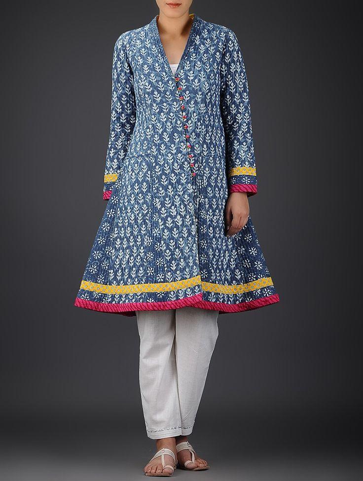Indigo-Ivory Dabu-printed Quilted Cotton Flared Jacket on Jaypore.com