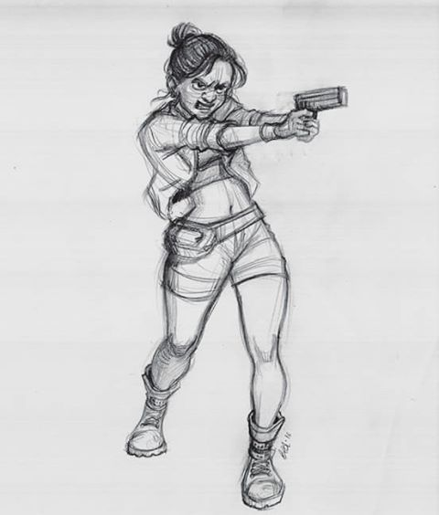 Sketch for fun! #girl #gun #sketch #doodle #drawing #pencil #traditional #art #character #design #artistoninstagram #warrior #videogames #shooting #artist #animations #comics