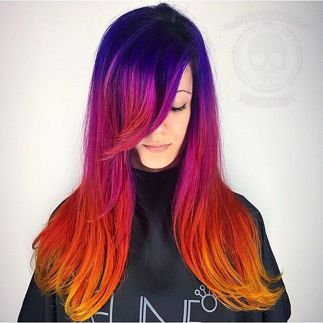 Purple, Pink, Red And Orange Sunset Hair