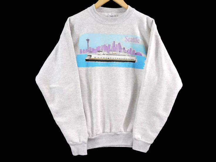 Vintage 90s Seattle Crewneck Sweatshirt - Medium Mens - Large Womens - Oneita - Gray Sweater - Grey - Vintage Clothing - 90s Clothing - by BLACKMAGIKA on Etsy