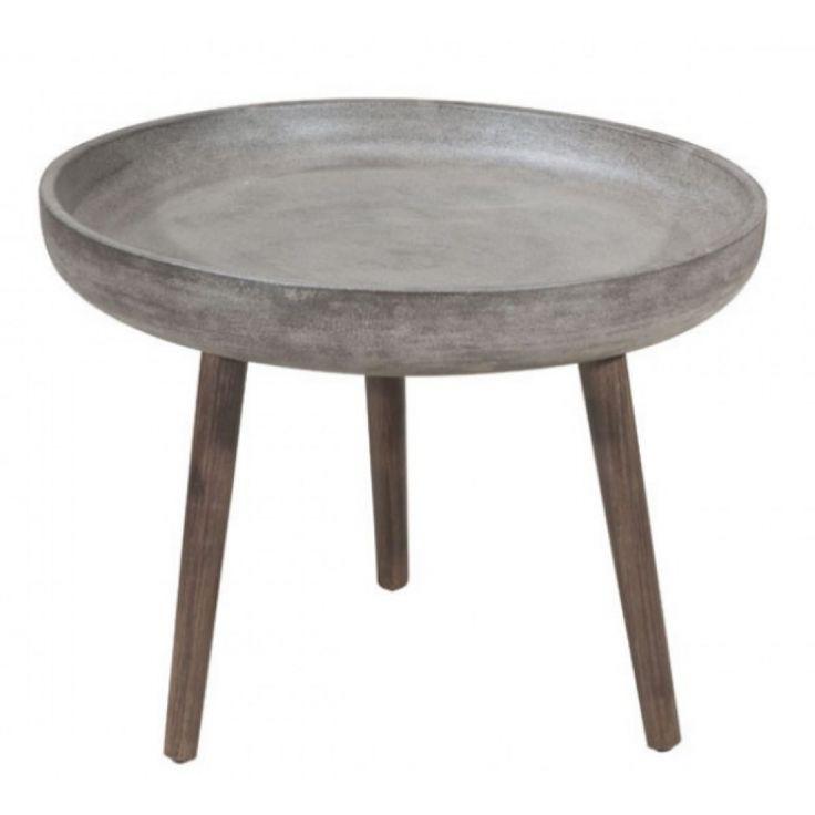 Table d' accent moderne  en ciment et bois d'acacia solide de couleur noyer foncé, le dessus est fabriqué de façon à ne pas être poreux et facile à nettoyer.