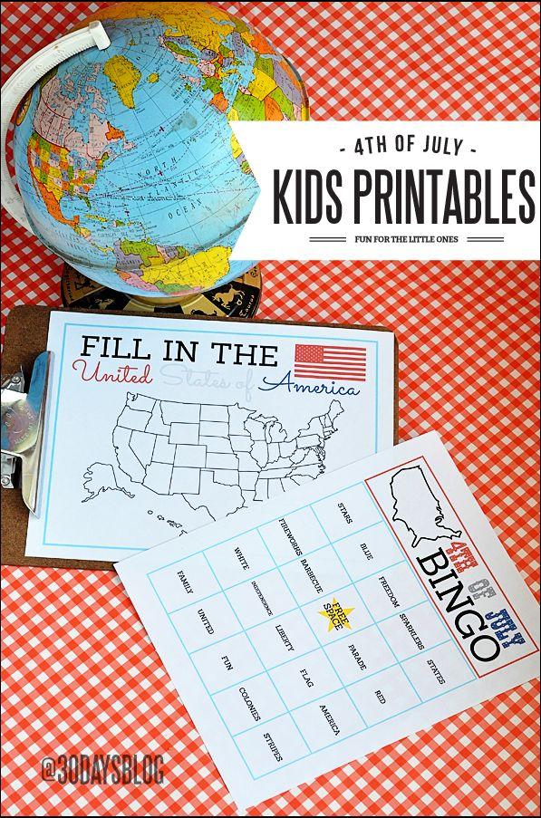 4th of July Kids Printables www.thirtyhandmadedays.com