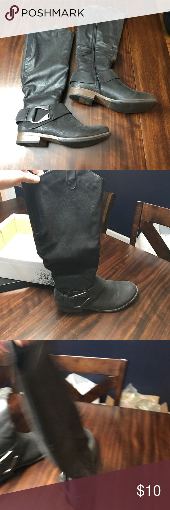 11- black leather riding boots Size 11 black leather riding boots with large buckle. Practically new Shoes Heeled Boots
