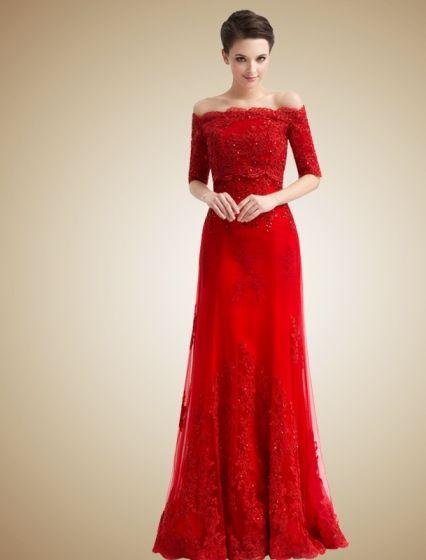 wedding bridesmaid dresses red - Google Search
