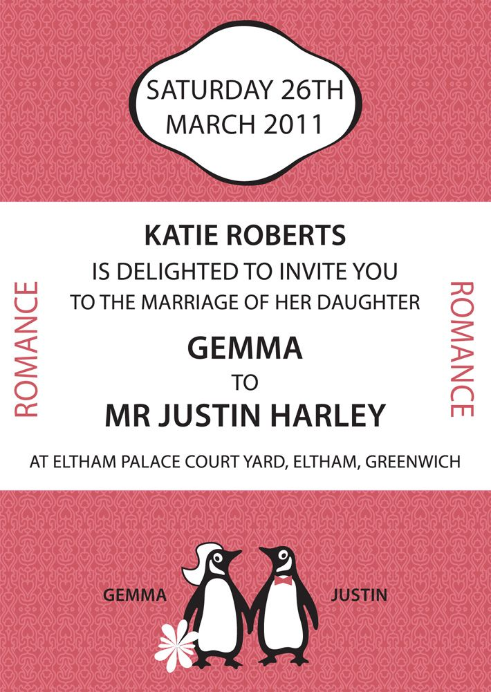 The penguin wedding invitation is made better by the addition of the bride and groom penguins. I DIE.