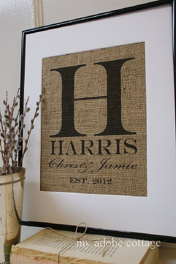 Monogrammed Wedding Gift Ideas: Personalized Wedding Gift. Rustic Burlap Print And Sign