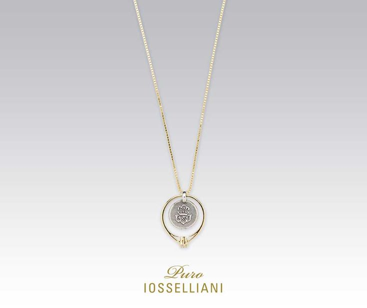 18K gold plated silver long chain necklace, pendant solitaire ring with white zircon, dangling signet medal. #iosselliani