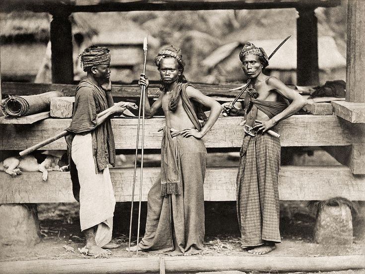 "Batak warriors in 1870. The term ""Batak"" is used to collectively identify a number of ethnic groups predominantly found in North Sumatra, Indonesia. It includes the Toba, Karo, Pakpak, Simalungun, Angkola and Mandailing, each of which are distinct but related groups with distinct, albeit related, languages and customs (adat)."