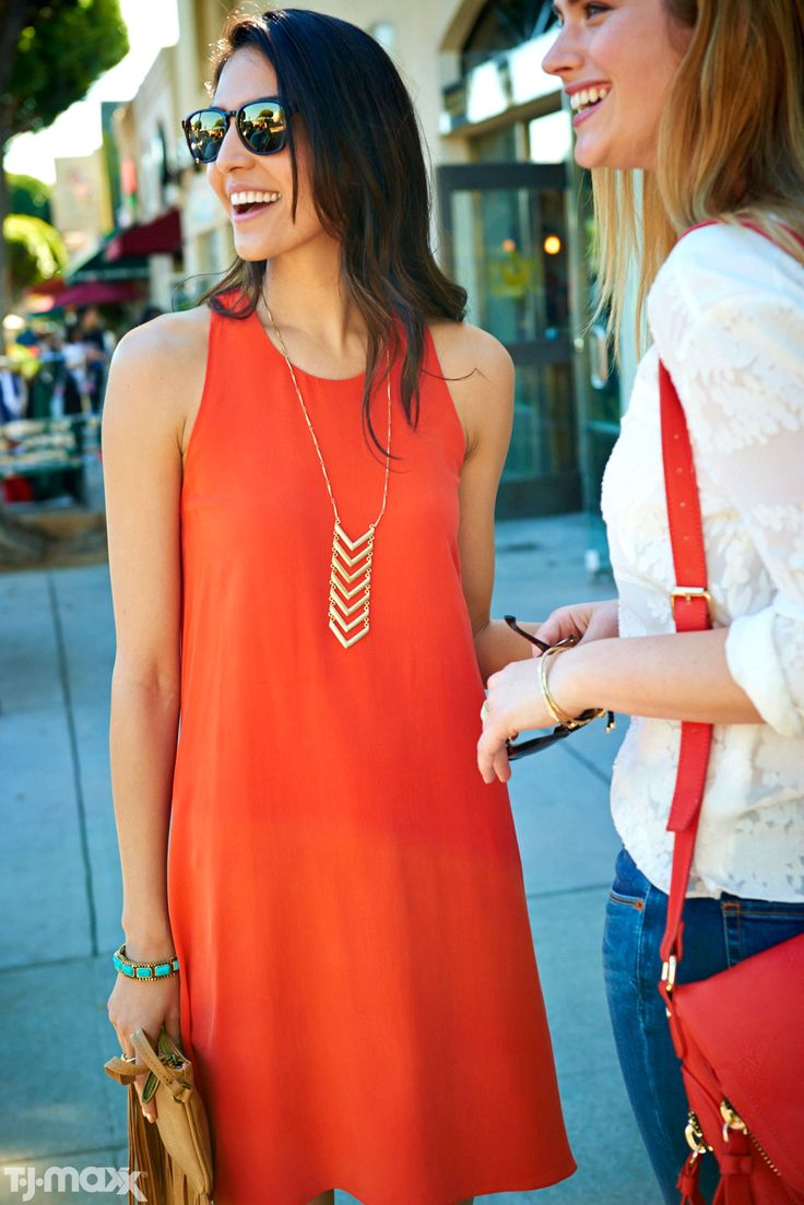 Cue the wear-everywhere dress. The bright orange color makes it relaxed enough for weekend days with girlfriends, and the simple shift cut keeps it polished enough for the workweek.