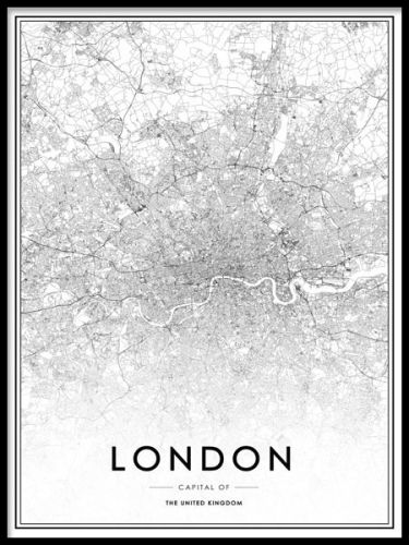 Black and white London map.