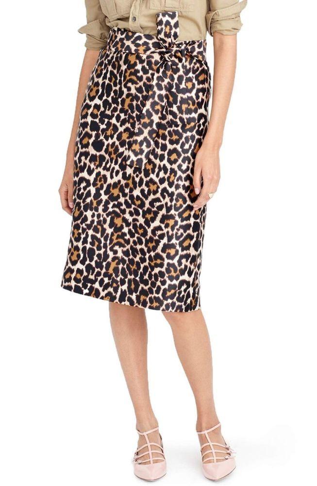J. Crew Leopard Print Tie Waist Skirt Size 0 New Without Tag