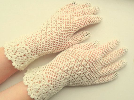 Bridal crochet lace gloves vintage lace gloves by WoolenDream, $45.00