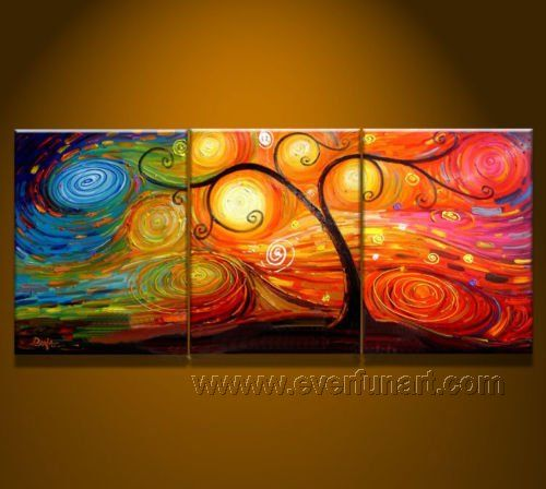 diy lighted canvas art | images of Modern Framed Abstract Tree Oil Painting on Canvas (LA3-016)
