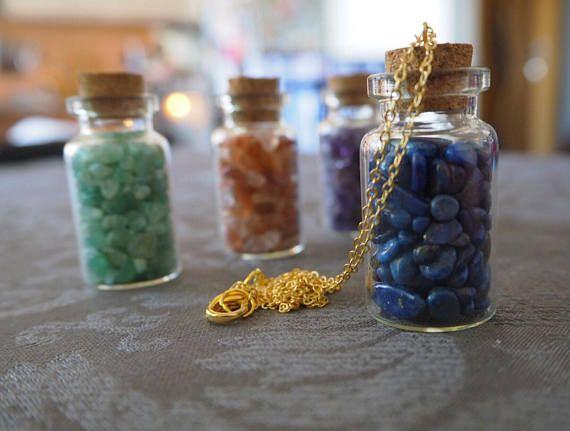 Lapis Lazuli Necklace Bottle Pendant Gold Lapis Lazuli