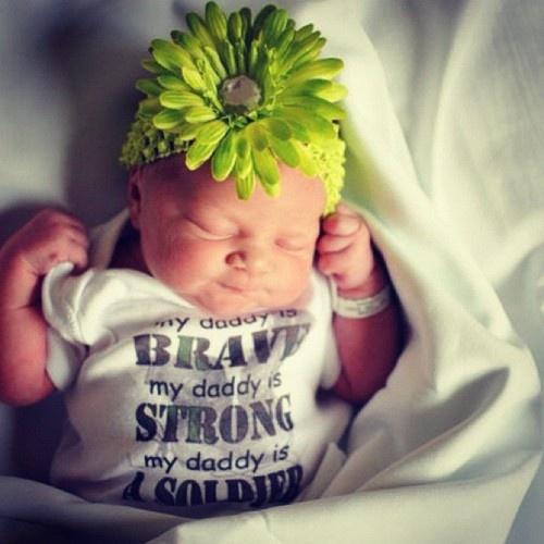 Newborn Army onesie & flower headband.