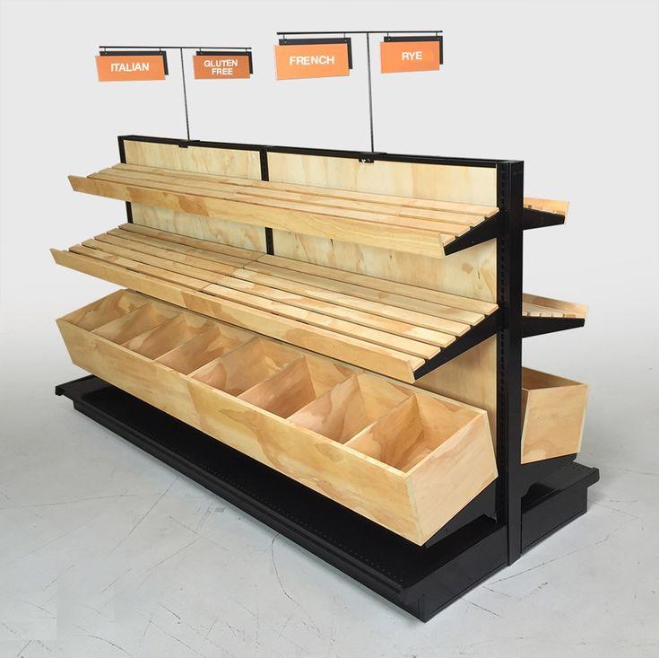 "P3417 Bakery and Bread Display, Wood Slat Gondola Shelving Kit 54""H x 8ft L"