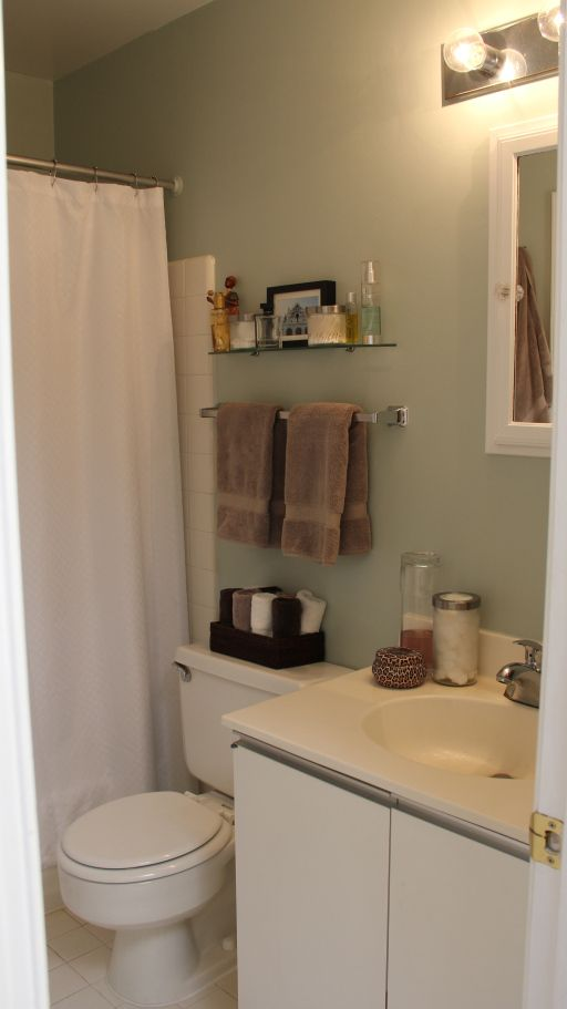 Small Tiny Apartment Bathroom Before And After Makeover    Tiny Baskets On  Toilet And Little Shelf | [{neat Home Decor}] | College Apartment Bathroom,  ...