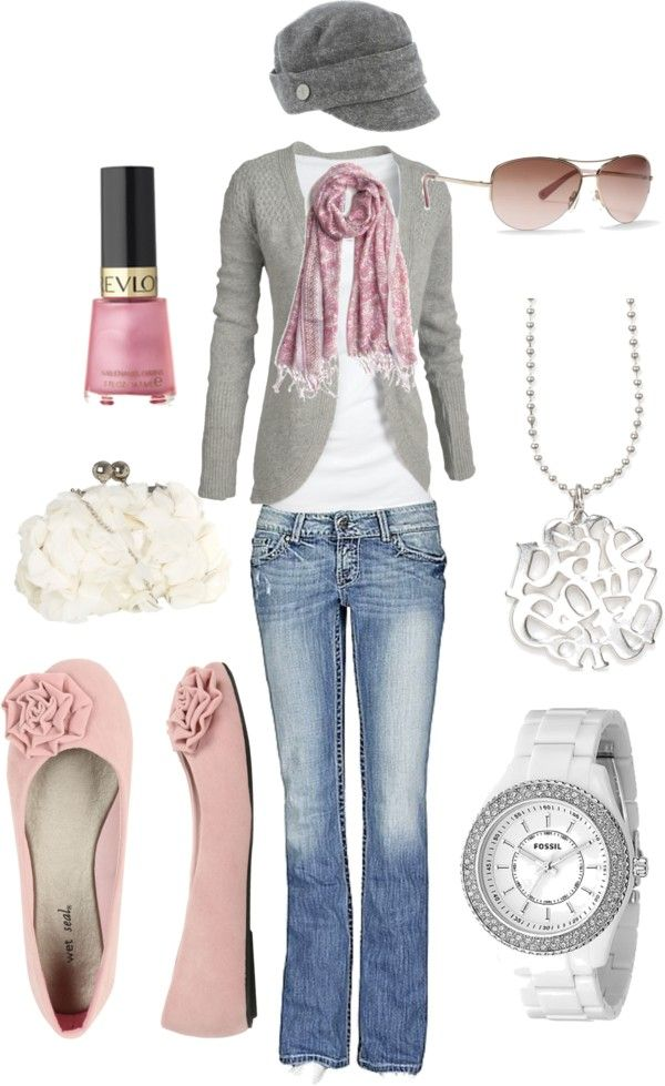 I love these colors.Hats, Fashion, Style, Clothing, Soft Pink, Shabby Chic, Grey, Pink Shoes, Cute Outfit