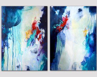 2 Teile original abstrakter Malerei auf Papier zwei kleine