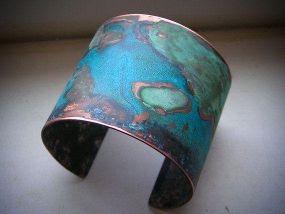 copper cuff with blue patina