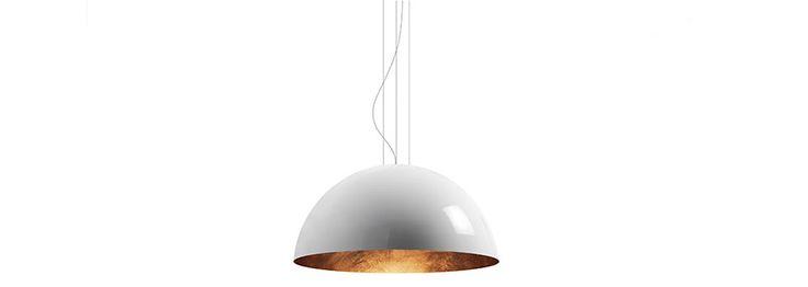 Lampada sospensione mezza sfera da interno in metallo Sunset   Torremato