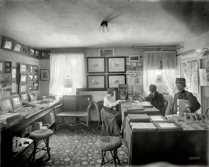 """Trip Advisor: 1902. """"Mr. Foster's office in Palm Beach."""" An outpost of the Ask Mr. Foster chain of travel agencies and souvenir shops started in Florida by Ward Foster in the 1880s. 8x10 glass negative by William Henry Jackson. Click to view full size."""