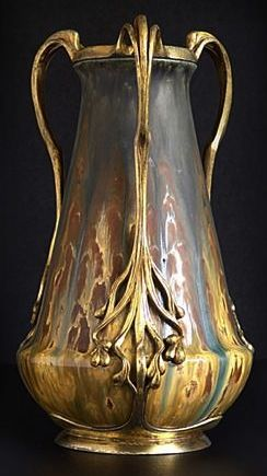Zsolnay Pottery vase with metal mounts and handles by Orivit.